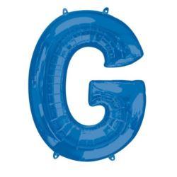 """Balon foliowy Litera """"G"""" niebieski, 63x81 cm"""