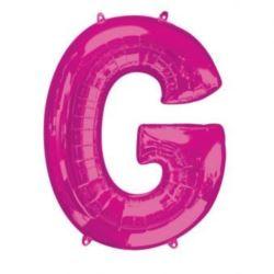 """Balon foliowy Litera """"G"""" różowy, 63x81 cm"""
