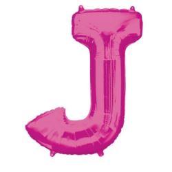 """Balon foliowy Litera """"J"""" różowy, 58x83 cm"""