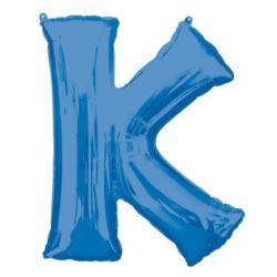 """Balon foliowy Litera """"K"""" niebieski, 66x83 cm"""
