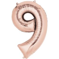 "Balon foliowy Cyfra ""9"" - Rose Gold 63x88 cm"