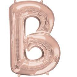 """Balon foliowy Litera """"B"""" różowe złoto, 58x836 cm"""