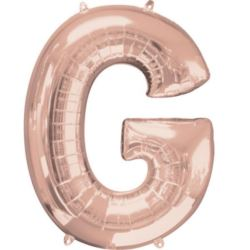 """Balon foliowy Litera """"G"""" różowe złoto - 63x81 cm"""