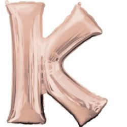 """Balon foliowy Litera""""K"""" różowe złoto-66x83 cm"""