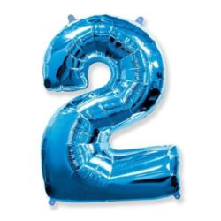 """Balon foliowy FX - """"Number 2"""" niebieski,95 cm"""