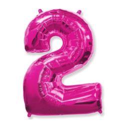 """Balon foliowy FX - """"Number 2"""" różowy, 95 cm"""