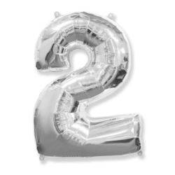 "Balon, foliowy FX ""Number 2"" srebrny 95 cm"