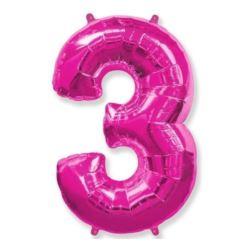 """Balon foliowy FX - """"Number 3"""" różowy"""