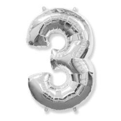 "Balon, foliowy FX ""Number 3"" srebrny 95 cm"