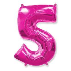 """Balon foliowy FX - """"Number 5"""" różowy, 95 cm"""
