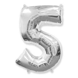 "Balon, foliowy FX ""Number 5"" srebrny 95 cm"