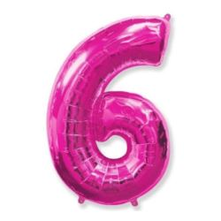 """Balon foliowy FX - """"Number 6"""" różowy 95 cm"""