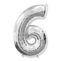 "Balon, foliowy FX ""Number 6"" srebrny 95 cm"