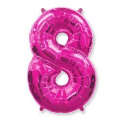 """Balon foliowy FX - """"Number 8"""" różowy"""