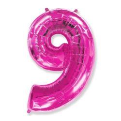 """Balon foliowy FX - """"Number 9"""" różowy 95 cm"""