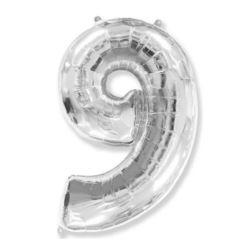 "Balon, foliowy FX ""Number 9"" srebrny 95 cm"
