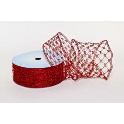 Taśma dekoracyjna - czerwony5 cm x10 m tkana met.