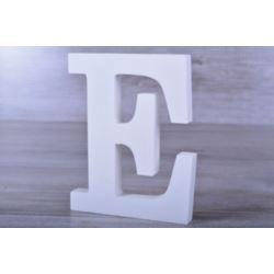 """Litery ozdobne, drewno 16 cm """"E"""" - biały, 1 szt."""