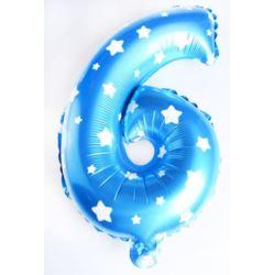 """Balon foliowy cyfra """"6"""" - niebieska w gwiazdki"""