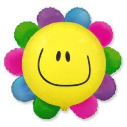 """balony, balony na hel, dekoracje balonowe, balony Łódź, balony z nadrukiem, Balon, foliowy 24"""" FX - """" Kwiatek"""" (tęczowy)"""