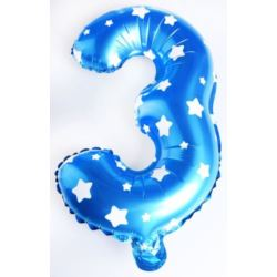"""Balon foliowy cyfra """"3"""" - niebieska w gwiazdki"""