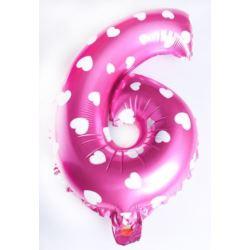 """Balon foliowy cyfra """"6"""" - różowe w serduszka"""