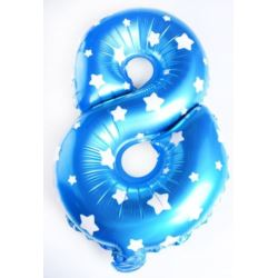 """Balon foliowy cyfra """"8"""" - niebieska w gwiazdki"""
