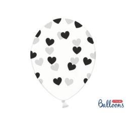 balony, balony na hel, dekoracje balonowe, balony Łódź, balony z nadrukiem, Balony 30cm, Serduszka Crystal Clear,6 szt.