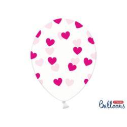 balony, balony na hel, dekoracje balonowe, balony Łódź, balony z nadrukiem, Balony 30 cm, Serduszka Crystal Clear, 6 szt.