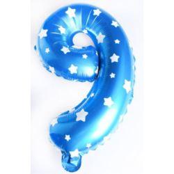 """Balon foliowy cyfra """"9"""" - niebieska w gwiazdki"""