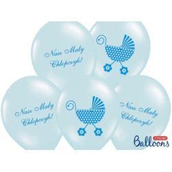 balony, balony na hel, dekoracje balonowe, balony Łódź, balony z nadrukiem, Balony 30 cm Nasz Mały Chłopczyk,P.Blue,6 szt.