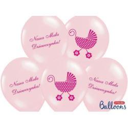balony, balony na hel, dekoracje balonowe, balony Łódź, balony z nadrukiem, Balony 30 cm Nasza Mała Dziewczynka,P Pink 6 szt.