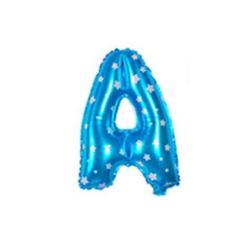 """Balon foliowy Litera """"A"""" - niebieska w gwiazdki"""