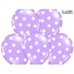 balony, balony na hel, dekoracje balonowe, balony Łódź, balony z nadrukiem, Balony 30 cm, Kropki, Pastel Lavender Blue, 6 szt.