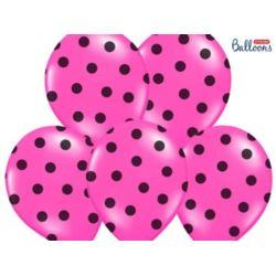 balony, balony na hel, dekoracje balonowe, balony Łódź, balony z nadrukiem, Balony 30 cm, Kropki, Pastel Hot Pink, 6 szt.