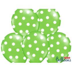 balony, balony na hel, dekoracje balonowe, balony Łódź, balony z nadrukiem, Balony 30 cm,Kropki,Pastel Lime Green, 6 szt.