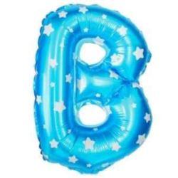 """Balon foliowy Litera """"B"""" - niebieska w gwiazdki"""