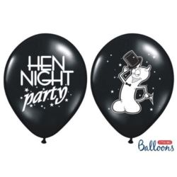Balony 30cm, Hen night party, Pastel Black,6 szt.