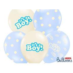 balony, balony na hel, dekoracje balonowe, balony Łódź, balony z nadrukiem, Balony 30cm, Its a Boy.pastel mix,6 szt.
