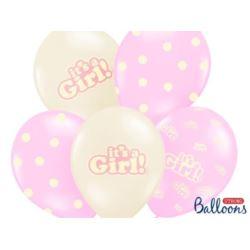 balony, balony na hel, dekoracje balonowe, balony Łódź, balony z nadrukiem, Balony 30 cm, Its a Girl, pastel mix, 6 szt.