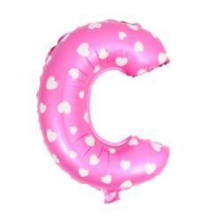 """Balon foliowy Litera """"C"""" - różowa w serduszka"""