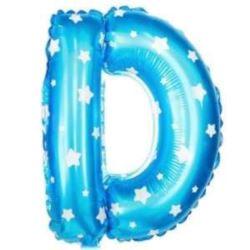 """Balon foliowy Litera """"D"""" - niebieska w gwiazdki"""
