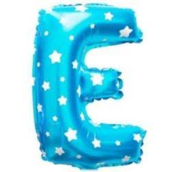 """Balon foliowy Litera """"E"""" - niebieska w gwiazdki"""