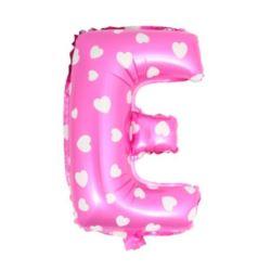 """Balon foliowy Litera """"E"""" - różowa w serduszka"""