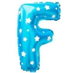 """Balon foliowy Litera """"F"""" - niebieska w gwiazdki"""
