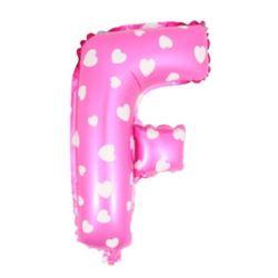 """Balon foliowy Litera """"F"""" - różowa w serduszka"""