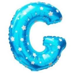 """Balon foliowy Litera """"G"""" - niebieska w gwiazdki"""