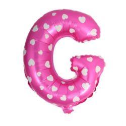 """Balon foliowy Litera """"G"""" - różowa w serduszka"""