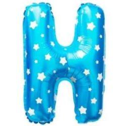 """Balon foliowy Litera """"H"""" - rniebieska w gwiazdki"""