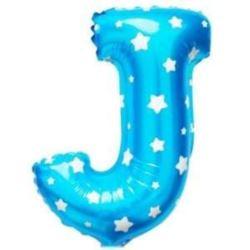 """Balon foliowy Litera """"J"""" - niebieska w gwiazdki"""